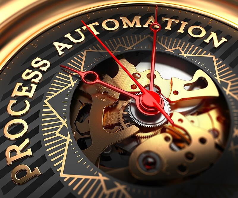 Process Automation on Black-Golden Watch Face with Closeup View of Watch Mechanism.