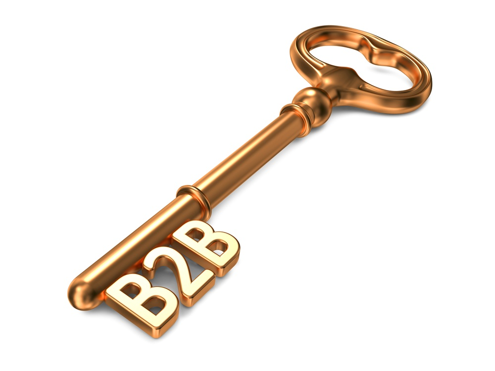 B2B - Golden Key on White Background. 3D Render. Business Concept.